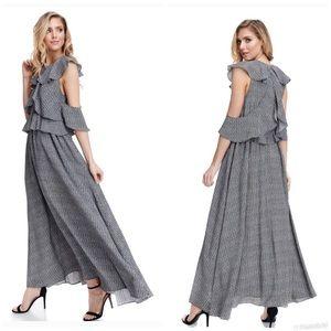 TOV Layered Cutout Ruffle Dress